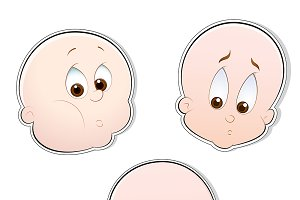 Cute Baby Faces Vectors