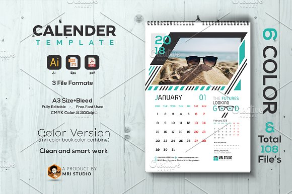 Calander Template-Graphicriver中文最全的素材分享平台