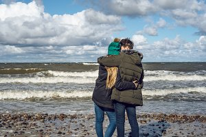 young couple and Baltic sea