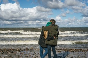 pair of lovers. coast of the Baltic