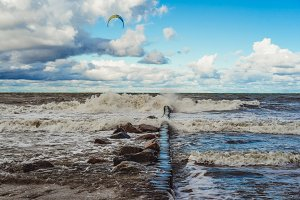 kitesurfing in the cold Baltic Sea