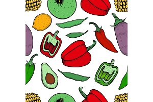 Seamless pattern of engraving organic vegetables.