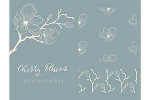 Cherry Blossom Design. Art Brush and Pattern. Vector