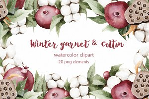 Winter watercolor garnet & cotton