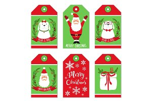 Cute Christmas cartoon characters of Santa Claus and Dog as symbol of the year as tags