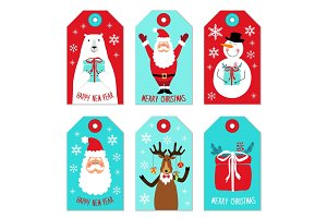 Cute Christmas cartoon characters of Santa Claus, Reindeer, Snowman and Polar Bear as tags