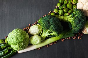 green and white vegetables