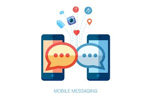 Mobile messaging apps trends icons.