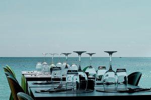 Served Restaurant Table on Sea Coast