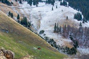 Two season mountain landscape