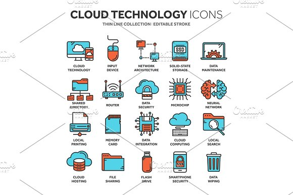 Cloud Omputing Internet Technology Online Services Data Information Security Connection Thin Line Blue Web Icon Set Outline Icons Collection