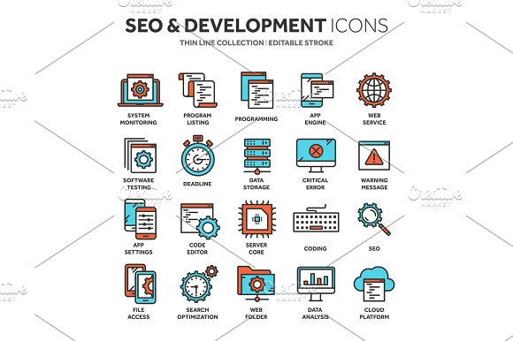 Seo And App Development Search Engine Optimization Internet E-commerce.Thin Line Blue Web Icon Set Outline Icons Collection Vector Illustration