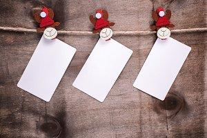 three empty paper tags