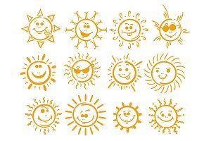 Doodle sun icons on white