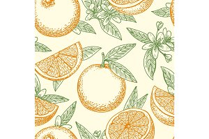 Orange fruit and flowers pattern