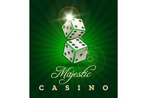 Gambling dice casino poster on green