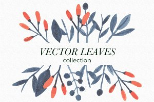 Botanical flowers & leaves vectors