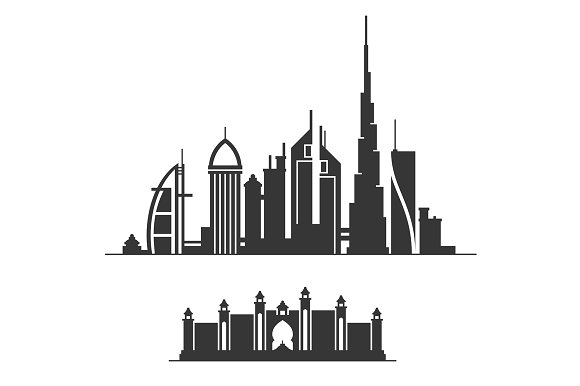 Dubai City Skyline Silhouette Graphic Patterns Creative Market Stunning Silhouette Patterns Youtube