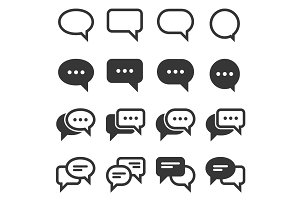 Chat and Speech Bubble icons Set
