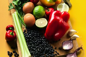 ingredients of mexican cuisine on a