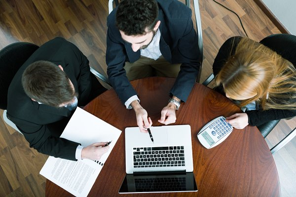 Business team working online