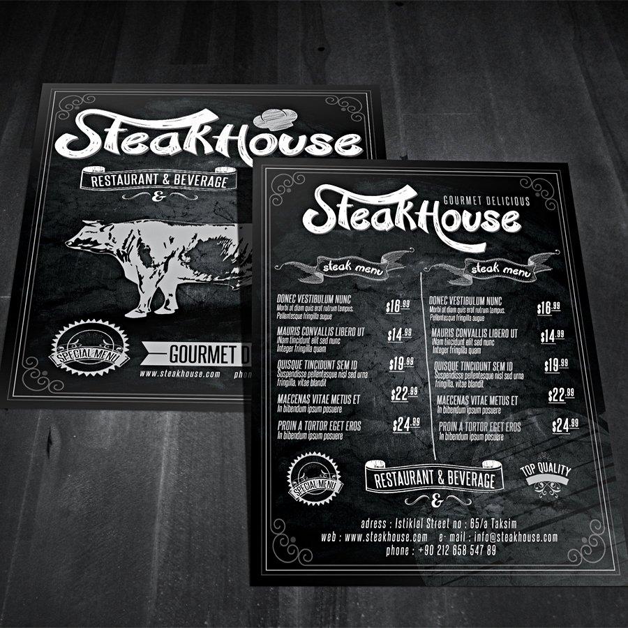 vintage restaurant flyer flyer templates creative market