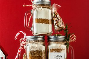 mix of flour, sugar, nuts for baking in a jar . Christmas mood t