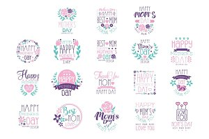 Happy Mothers Day hand drawn label vector Illustrations