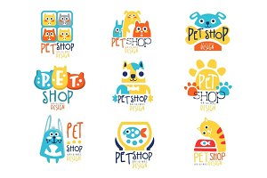Pet shop original label design, colorful hand drawn vector Illustrations