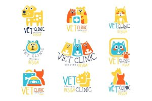 Vet clinic original label design, colorful hand drawn vector Illustrations