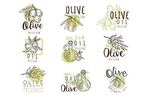 Organic olive product set for label design. Organic, natural and healthy food. Vector Illustrations