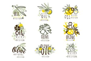 Olive oil set for label design. Organic, natural and healthy food. Vector Illustrations for olive oil packaging