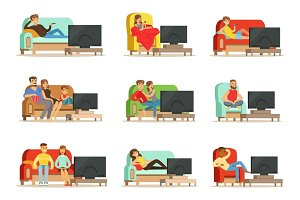 Happy people watching television sitting on the couch at home, colorful Illustrations