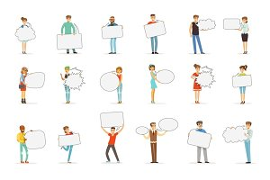 Man and woman standing and holding blank speech bubbles. Communication between people vector Illustrations