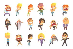 Angry and exasperated men set for label design. Colorful cartoon detailed vector Illustrations