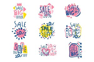 Super sale set for label design. Sale shopping, exclusive special offers badges. Colorful vector Illustrations