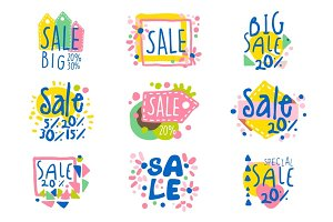 Big sale set for label design. Sale shopping, exclusive special offers badges. Colorful vector Illustrations