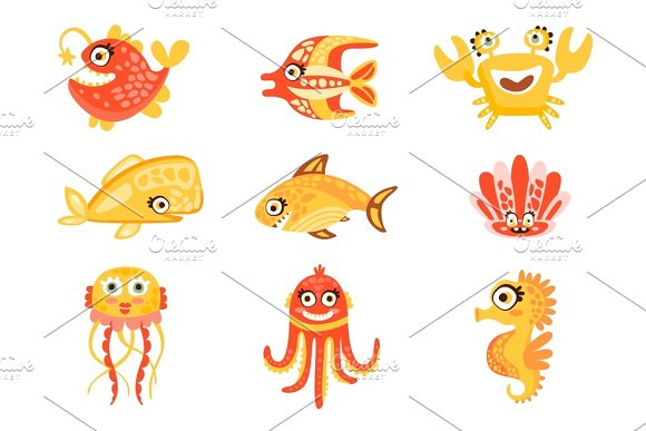Cute Cartoon Sea Creatures Marine Life Underwater World Set Of Colorful Characters Vector Illustrations