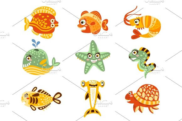 Cartoon Underwater World With Fish Plants Marine Life Underwater World Set Of Colorful Characters Vector Illustrations