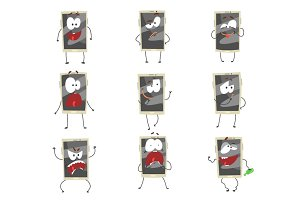 Cute cartoon emoticon phones with gray faces set. Smartphones with different emoticons