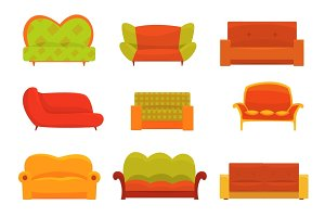 Sofas and armchairs, Interior elements. Comfortable couch set of colorful detailed vector Illustrations