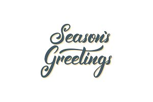 Seasons Greetings text lettering design. Christmas and New Year greeting typography