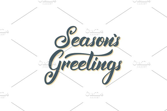 seasons greetings text lettering design christmas and new year greeting typography illustrations