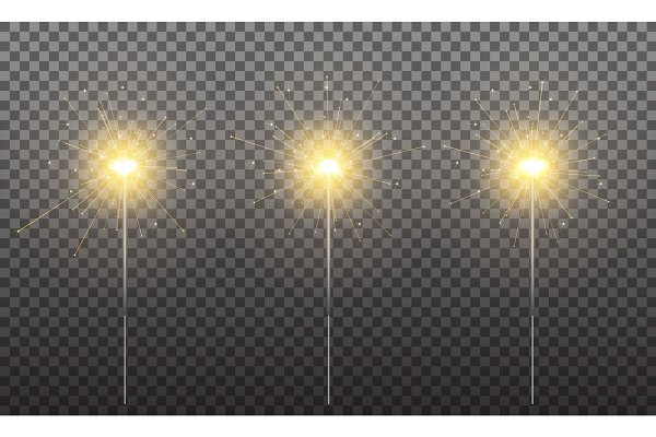 Sparkler. Realistic sparklers isola…