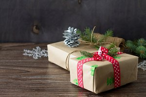 Christmas background with gift box.