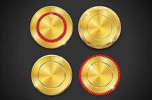 Set of blank round gold badges