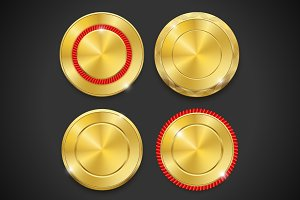 Set of blank round gold badges