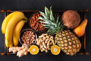 Healthy food clean eating selection in wooden box: fruit, superf