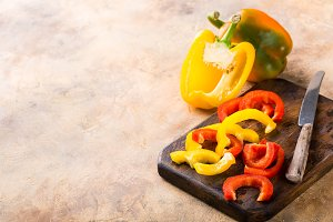 Fresh picked red, yellow and green bell pepper