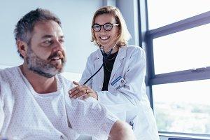 Medical examination of mature man